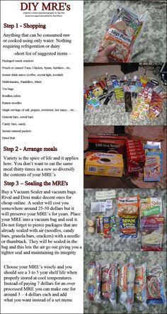 DIY emergency food packs/MREs. I need a vacuum sealer...Good for 72 hour kits too!