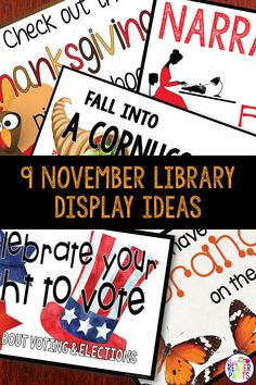 Looking for some fun library display ideas? This poster+bookmark set spotlights nine November themes, including Thanksgiving, Election Day, and National Adoption Day. Christmas Bulletin Boards, Reading Bulletin Boards, Preschool Bulletin Boards, Library Book Displays, Library Books, National Adoption Day, Library Posters, Library Skills, Library Activities