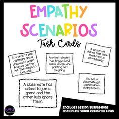 Empathy Scenario Task Cards SEL Social and... by Purple Pineapples   Teachers Pay Teachers Teacher Resources, Teacher Pay Teachers, Comic Sans, Task Cards, Social Skills, Counseling, Classroom, Teaching, Education