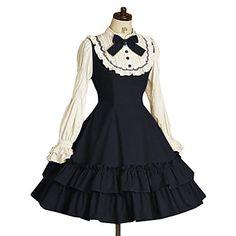 Manga longa na altura do joelho de tinta azul Terylene clássico vestido lolita – USD $ 71.99