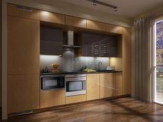 """""""inset"""", glass backsplash, below counter mwave, concealed 30"""" fridge"""