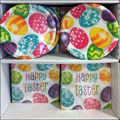 Happy Easter Partyware Paper Goods Display – Fixtures Close Up Easter Greeting Cards, Plate Display, Store Fixtures, Paper Plates, Paper Goods, Happy Easter, Easter Eggs, Signage, Table Settings