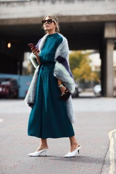 On the street at London Fashion Week. Photo: Imaxtree