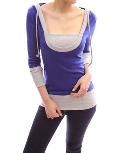 Patty Women Stunning 2-in-1 Hoodie Casual Blouse Top (Blue and Grey S) Patty,http://www.amazon.com/dp/B009NOWJA8/ref=cm_sw_r_pi_dp_sItEsb1NPPHSBP15