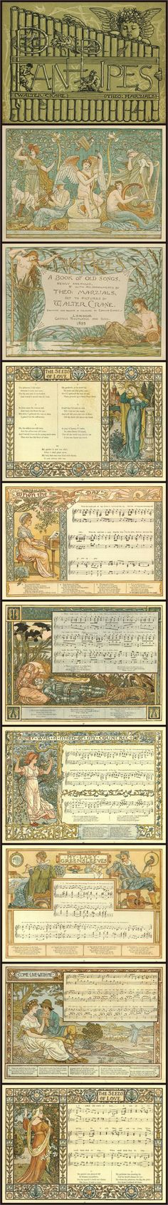 'Pan-pipes : a book of old songs'  newly arranged & with accompaniments by Theo. Marzials; set to pictures by Walter Crane; Published 1883.