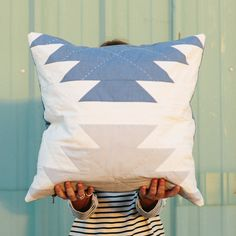 Pineapple Pillow with sashiko hand quilting by Vacilando Quilting Co.