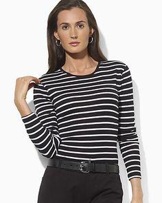 Lauren Ralph Lauren Blanca Long Sleeve Stripe Crew Neck Tee | Bloomingdale's