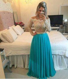 Vestido de festa verde brilho