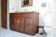 Update your bathroom with this full tutorial for a DIY vanity makeover. Create your dream modern farmhouse bathroom with this budget friendly makeover! Painting Bathroom Cabinets, Paint Bathroom, Diy Bathroom Remodel, Bathroom Countertops, Bathroom Renos, Bathroom Remodeling, Remodeling Ideas, New Cabinet Doors, Shaker Style Cabinet Doors