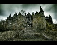 Rear view of Miranda Castle in Belgium. Also known as Noisy Castle. 19th-century castle in Celles, province of Namur, Belgium, in the region of the Ardennes.