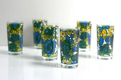 Vintage Mid Century Modern Colorful Floral Drinking Glasses