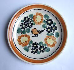 Vintage decorative #plate  #handpainted / Faience / Hand painted / Flowery Flower / White Brown Blue /Bird / Polish pottery / Polish ceramics / 70's / folk Available at: etsy.com/people/VintagePolkaShop #etsy #etsyplate #etsyhomedecor #polishpottery