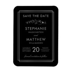 Rustic Stylish Black Silver Mountain Save The Date Magnet