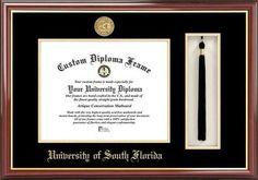 South Florida USF Bulls Diploma Frame and Tassel Box