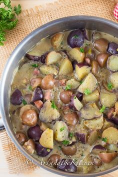 Potato and Ham Ragu, a terrific potato dish that can be served as a side dish or main dish with some fresh bread.