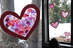 Tissue Paper Stained Glass--Create heart-shaped art or any shape you choose.