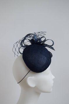 Navy Wedding Hat, Wedding Hats, Navy Blue Fascinator, Fascinator Hats, Headdress, Headpiece, Ascot Hats, Wedding Fascinators, Cocktail Hat