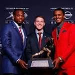 Stanford football's Christian McCaffrey finishes second in 2015 Heisman Trophy ...  Alabama running back Derrick Henry was named the 2015 Heisman Trophy winner on Saturday in New York, while Stanford standout Christian McCaffrey finished second in the voting. https://pac-12.com/article/2015/12/12/stanford-footballs-christian-mccaffrey-finishes-second-2015-heisman-trophy-race
