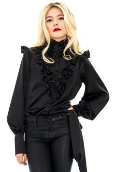 blouse en soie, chemisier noir, chemisier habillé, stefanie renoma