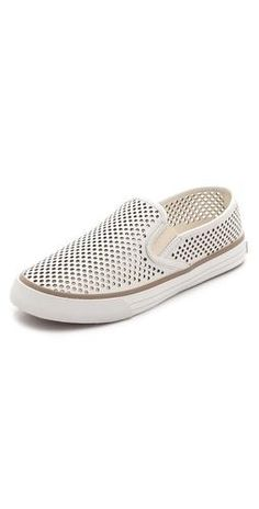 Tory burch perforated slip on leather sneakers