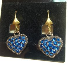 Dark blue Swarovski crystal earrings Dark blue Swarovski crystals set in a copper heart base. (e-057) ⬇Reduced on 9/28 from 25 to 22 for CCO⬇No trades ps-creations Jewelry Earrings