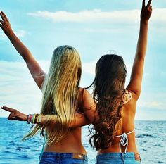 Girls in bathing suits & jean shorts at the beach by the ocean welcome summer! For the BEST summer fashion trends in jewelry, clothing, & accessories FOLLOW http://www.pinterest.com/happygolicky/summer-style-jewelry-clothing-swimsuits-accessorie/ now