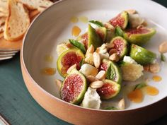fig salad with aged goat cheese, marcona almonds, and hot honey