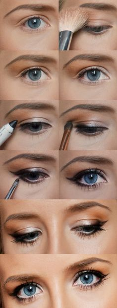 Eye makeup for any eye color, eye size, or face shape. Beauty Make-up, Beauty Secrets, Beauty Hacks, Hair Beauty, Beauty Tips, Pretty Makeup, Love Makeup, Simple Makeup, Perfect Makeup