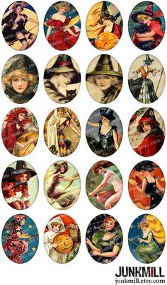 WISTFUL WITCHES Collage Sheet. Victorian Witches by JUNKMILL.