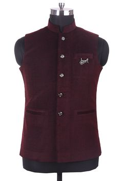 Buy Maroon Well Tailored Waist Coat from a classic range of Nehru & Modi Jackets at Manyavar. Adorn a jacket from our collection to enhance your traditional wear & Kurta Pajamas. Nehru Jacket For Men, Waistcoat Men, Nehru Jackets, Sherwani For Men Wedding, Wedding Dress Men, Sherwani Groom, Mens Indian Wear, Indian Men Fashion, Mens Fashion