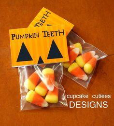 Pumpkin Teeth! Cute Halloween treat idea. Packaging would be easy to do. Am so…