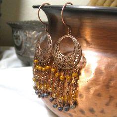 Chandelier Earrings Amber topaz caramel and Ash by NedjmaBazaar, $25.00