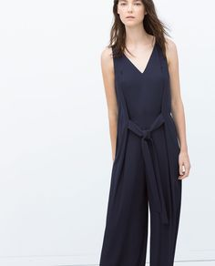 ZARA - COLLECTION AW15 - LONG JUMPSUIT WITH TIE WAIST