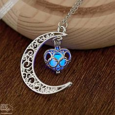 Glow In The Dark Moon Heart Necklace ❤ liked on Polyvore featuring jewelry, necklaces, glow in the dark jewelry, copper jewelry, heart shaped jewelry, glow in the dark necklaces and heart pendant jewelry