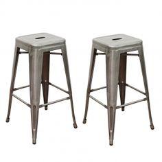 Adeco Storuman Silver Iron Bar Stools (Set of two) #AdecoHomeGoods #BarStool #Kitchen