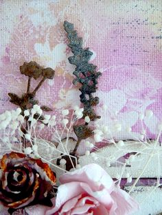 Bumblebees and Butterflies: Another shabby canvas board birthday card