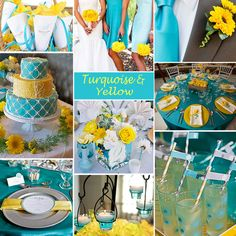 turquoise yellow and white wedding colors