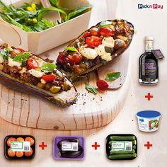 Brinjal + baby marrow + tomato + feta + balsamic vinegar = veggie boats of goodness! Easy Recipes, Easy Meals, Healthy Recipes, Recipe Search, Balsamic Vinegar, Vegan Vegetarian, Feta, Cooking Tips, Salad Recipes