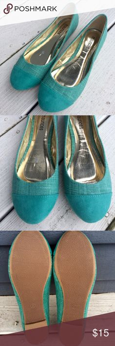 Maurices - turquoise flats with suede tip, size 8 These are a re-Poshing. Such a beautiful shade of turquoise, perfect for spring and summer, just too small for me! They are a true size 8 (I generally wear 8-8.5).  Original seller stated the original price was $34, and described the shoes as NWOT. Only flaw I can detect is a slight scratch in the footbed of the right shoe, as shown in pictures 2 and 4. It would undetectable when worn. Maurices Shoes Flats & Loafers