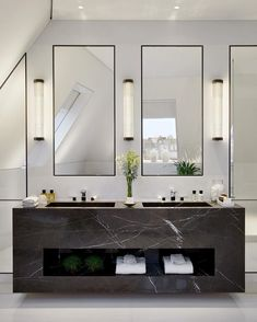 Gorgeous and Stylish Bathroom Designs Ideas That You Must Get The master bathroom double vanity in the Penthouse is carved from a single block of 40 double sink bathWhat's to love? Bad Inspiration, Bathroom Inspiration, Bathroom Interior Design, Bathroom Designs, Modern Interior, Bathroom Renovations, Remodel Bathroom, Master Bathroom, Double Sink Bathroom
