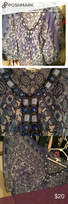 Semi-sheer blouse Beautiful. Blue blouse. The beads around 2 of the stones are coming loose/missing...there's a close up pic of it. Arms fit like a poncho(wide) Tops Blouses