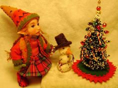~KATIE~ A WOODLAND PIXIE & SNOWMAN,TRIM A TREE BY POPPENMOON  on ebay