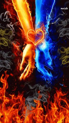 Fire and ice gif love Twin Flame Love, Twin Flames, Blue Flames, Flame Art, Prophetic Art, Fire And Ice, Belle Photo, Urban Art, Fantasy Art