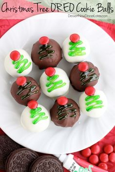These traditionally made OREO Cookie Balls are decorated with green gel and a red candy coated chocolate piece for a festive Christmas Tree treat! From DessertNowDinnerLater.com #OREOCookieBalls #ad #shop