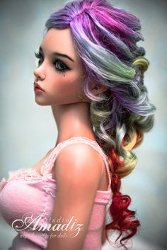 Rainbow braid natural angora wig for bjd SD MSD by AmadizStudio