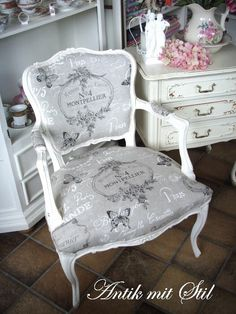 home furniture diy Chair Makeover, Furniture Makeover, Home Furniture, Recycled Furniture, Painted Furniture, Vintage Furniture, Shabby Chic Upholstered Chairs, French Style Decor, Reupholster Furniture