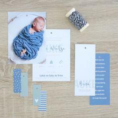 Geboortekaartje Auke - DIY knipkaart - vier labels - zelf maken - geboortekaartje met foto