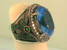 NEW Sterling Silver Ring Sky Blue stone, Emeralds & Crystals ON SALE
