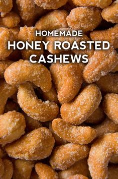 So often when we're looking for a snack, we want something that is both crunchy and sweet, and in an ideal world, it will also be a little bit healthy, too. These honey roasted cashews check all of those boxes! Skip buying a pre-made pack Honey Roasted Cashews Recipe, Cashew Recipes, Roasted Nuts, Snack Recipes, How To Roast Cashews, Raw Cashews, Healthy Recipes, Chex Mix, Honey
