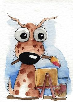 The Artist - ACEO Original watercolor whimsical animal painting art puppy dog artist brush  #Folkartillustration